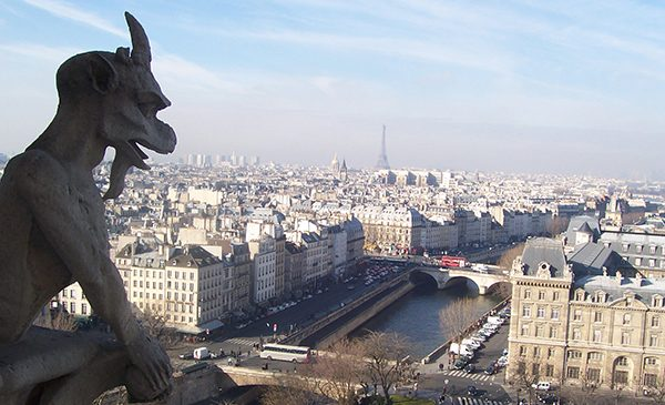 Paris as seen from the top of Notre Dame cathedral. Public domain image from Wikimedia Commons.