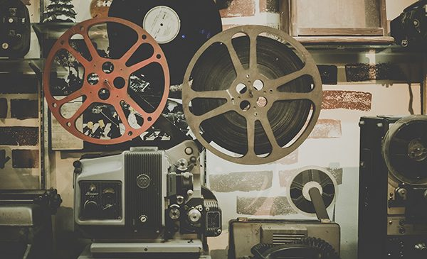 Vintage film projectors. Public domain image.